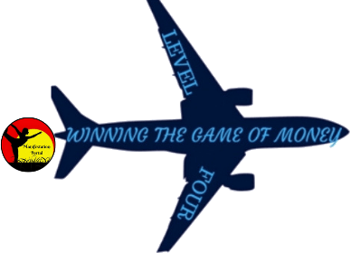 Blue Airplane With The Words Of Winning The Game Of Money On It